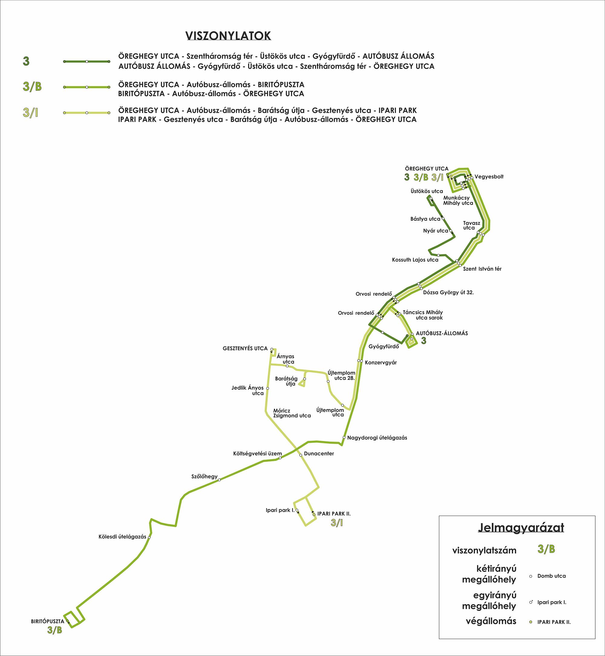 A Paksi Közlekedési Kft. által üzemeltetett 3, 3/B és 3/I vonal térképes vonalhálózati rajza